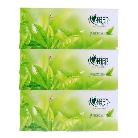 """""""心相印""""茶语系列纸巾(盒装)抽纸200抽*3盒 规格:190mm*210mm*2层 大号"""
